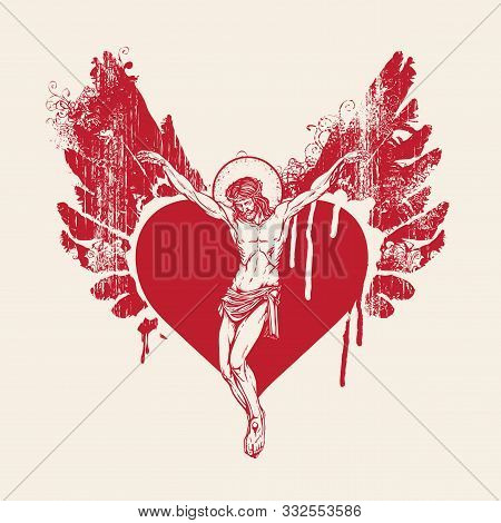 Vector Banner With Crucifix. Religious Illustration With Crucified Jesus Christ Inside The Abstract