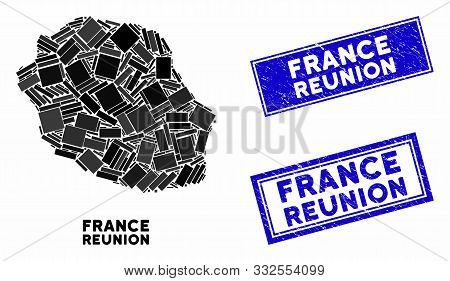 Mosaic Reunion Island Map And Rectangle Stamps. Flat Vector Reunion Island Map Mosaic Of Scattered R
