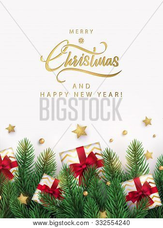 Merry Christmas And Happy New Year Design For Greeting Card, Poster Or Banner In Modern Minimalist S