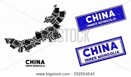 Mosaic Inner Mongolia Map And Rectangle Seal Stamps. Flat Vector Inner Mongolia Map Mosaic Of Random