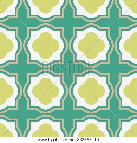 A Seamless Vector Geometric Abstract Pattern With Sqare Quatrefoils In Mint And Lime Green. Classic