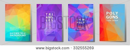 Facet Triangles Futuristic Cover Page Layouts Vector Graphic Design Set. Crystal Texture Polygonal P