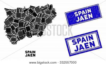 Mosaic Jaen Spanish Province Map And Rectangular Rubber Prints. Flat Vector Jaen Spanish Province Ma