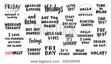 Friday, Holidays, Friday, Vacation, Feelings, Weekend, Vibes. Vector Hand Drawn Illustration Collect