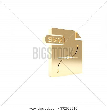 Gold Svg File Document. Download Svg Button Icon Isolated On White Background. Svg File Symbol. 3d I