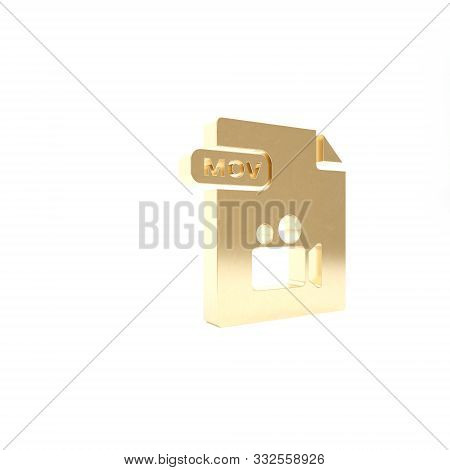 Gold Mov File Document. Download Mov Button Icon Isolated On White Background. Mov File Symbol. Audi