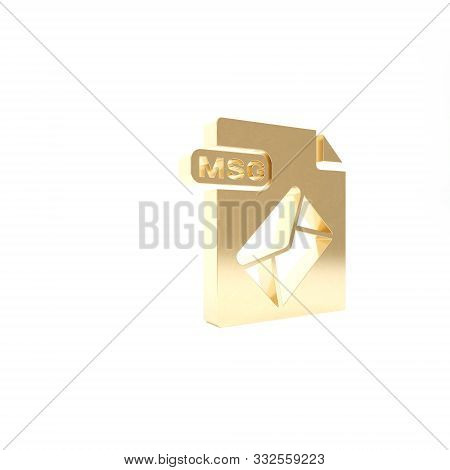 Gold Msg File Document. Download Msg Button Icon Isolated On White Background. Msg File Symbol. 3d I