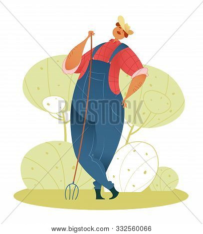 Farmer. A Cute Gardener In A Hat, In A Blue Overalls, In A Red Shirt Is Standing With A Pitchfork. V