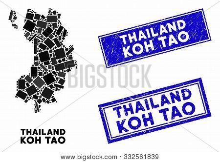 Mosaic Koh Tao Thai Island Map And Rectangle Seals. Flat Vector Koh Tao Thai Island Map Mosaic Of Ra