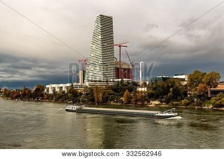 View Of The Rhine River And Riverside Basel From The Wettsteinbrucke On A Cloudy Autumn Day, Basel,