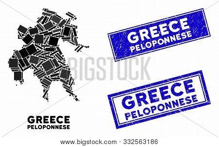 Mosaic Peloponnese Peninsula Map And Rectangular Stamps. Flat Vector Peloponnese Peninsula Map Mosai