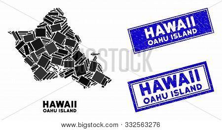 Mosaic Oahu Island Map And Rectangular Watermarks. Flat Vector Oahu Island Map Mosaic Of Random Rota