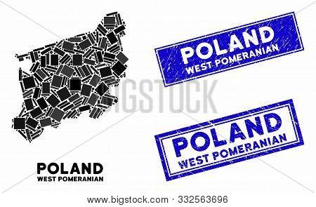 Mosaic West Pomeranian Voivodeship Map And Rectangle Watermarks. Flat Vector West Pomeranian Voivode