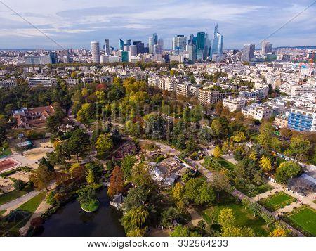France, Paris - Oct 2019: Aerial Shot Of Financial And Business District Of La Defense, Paris. Skysc