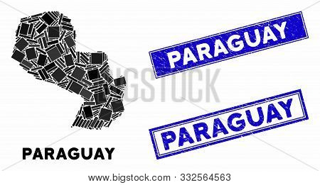 Mosaic Paraguay Map And Rectangle Stamps. Flat Vector Paraguay Map Mosaic Of Random Rotated Rectangl