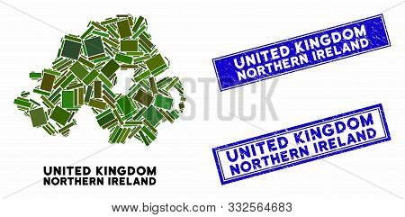 Mosaic Northern Ireland Map And Rectangle Stamps. Flat Vector Northern Ireland Map Mosaic Of Scatter