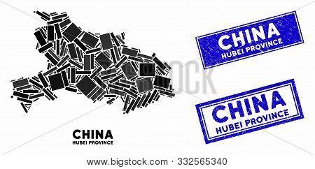 Mosaic Hubei Province Map And Rectangular Seal Stamps. Flat Vector Hubei Province Map Mosaic Of Rand