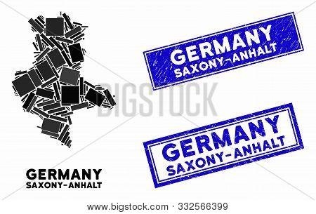 Mosaic Saxony-anhalt Land Map And Rectangular Stamps. Flat Vector Saxony-anhalt Land Map Mosaic Of R
