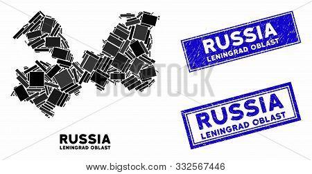 Mosaic Leningrad Oblast Map And Rectangle Rubber Prints. Flat Vector Leningrad Oblast Map Mosaic Of