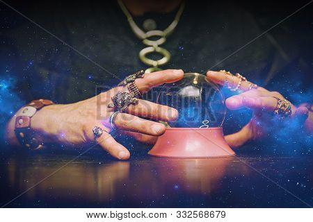 Sorcerer Uses A Crystal Ball To Predict The Future.