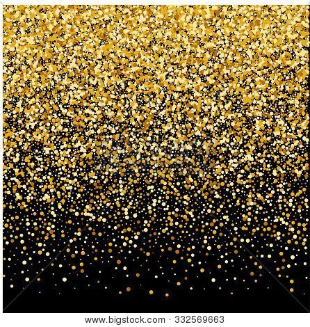 Abstract Bright Golden Flickering Luminous Particles On A Black Background. Vector Glitter Decoratio