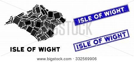 Mosaic Isle Of Wight Map And Rectangle Watermarks. Flat Vector Isle Of Wight Map Mosaic Of Randomize
