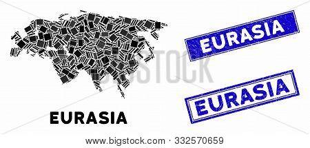Mosaic Eurasia Map And Rectangle Seals. Flat Vector Eurasia Map Mosaic Of Randomized Rotated Rectang