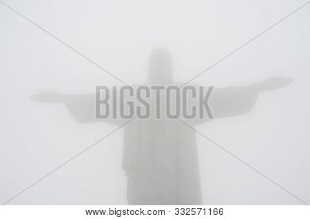 Rio De Janeiro, Brazil - September 14, 2019.  Redeemer Christ Statue On Corcovado Hill Covered With