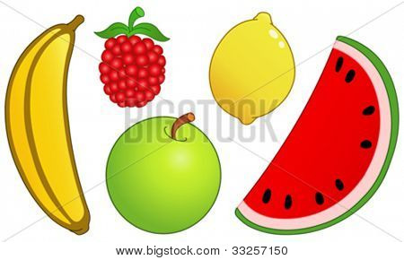 Fruit set: banana, raspberry, lemon, watermelon slice and apple