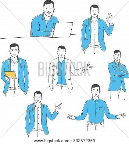 Positive Manager Gesturing Outline Stock Vector Illustration Set. Man Pointing Finger Away, Sitting