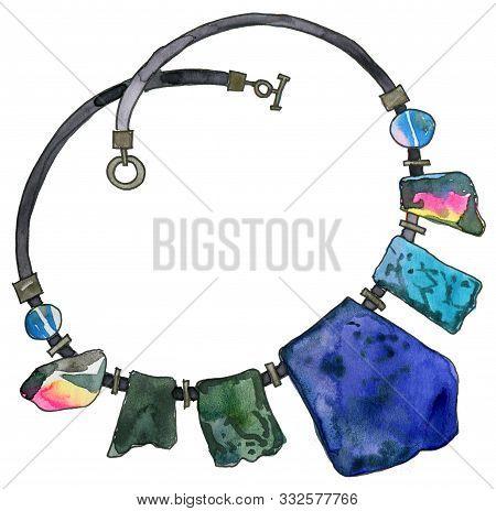 Watercolor Jewelry Illustration, Sketch, Gold Chain, Agate Gemstones, Bracelet, Gem, Fashion Accesso