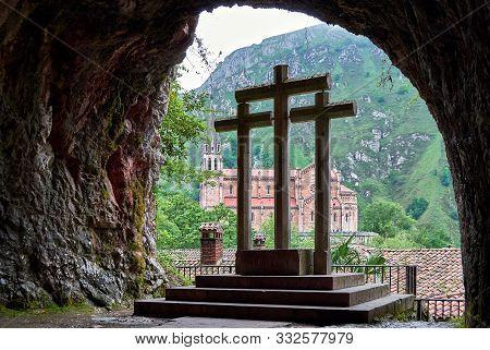 Covadonga Catholic Sanctuary, Asturias, North Of Spain