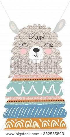 Hand Drawn  Illustration Of A Cute Funny Llama. Isolated Objects On White. Scandinavian Style Flat D