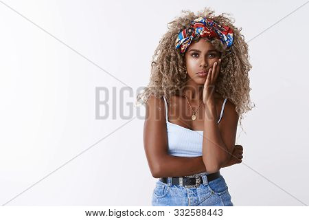 Girl Feeling Unwell, Lost In Thoughts. Moody Bored Blond, Modern Curly-haired African American Woman