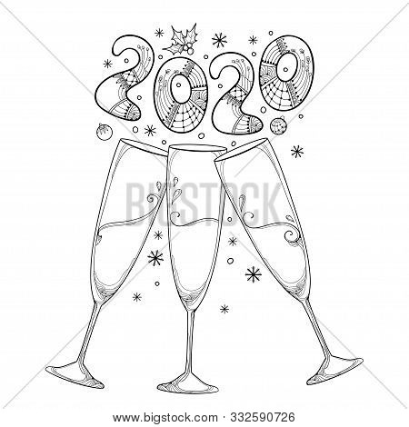 Vector Drawing Of Three Outline Toasting Champagne Glasses With Number 2020 In Black Isolated On Whi
