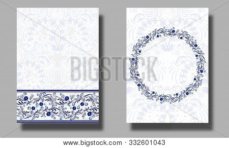 Set Of Vertical Wedding Invitation Cards With Blue Leaves And Flowers. Save The Date And R.s.v.p. Et
