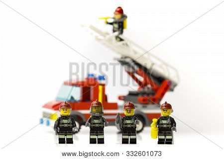 Riga, Latvia - November 9, 2019: Lego Firefighters. Minifigures. Lego Is A Popular Brand Of Minifigu