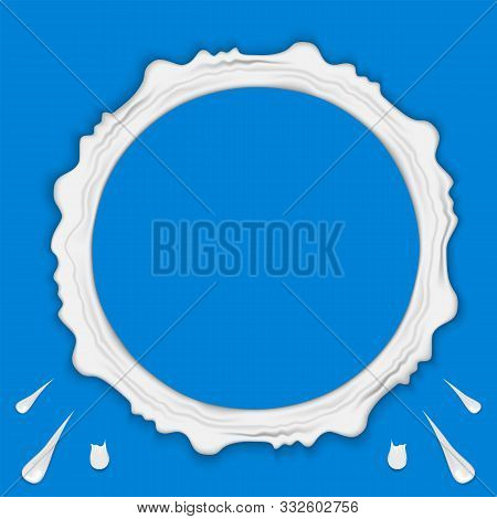 Set Of Milk Ring Splashes Isolated On Blue Background. Cream, Yogurt Fall With Drops And Blots.