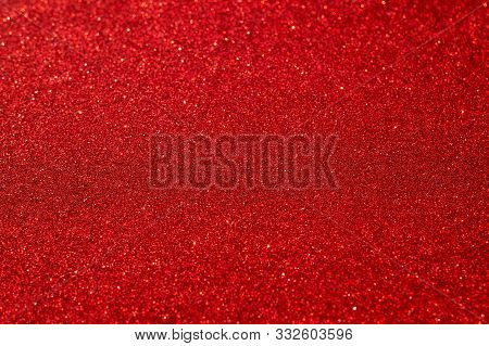 Festive Abstract Red Glitter Texture Background. Colorful Background With Glittering And Sparkling S