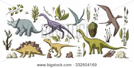 Huge Vector Clip Art Hand Drawn Dinosaur Collection. Dino Prehistoric Stegosaurus, Triceratops, Bron