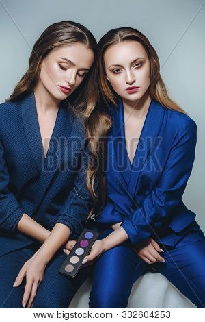 Beautiful Portrait Of Two Sisters. Stock Photo