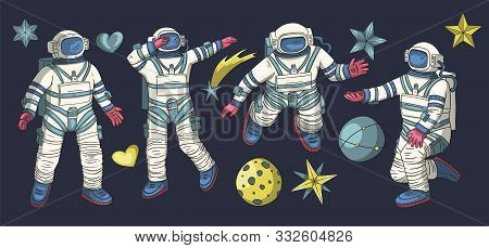 Huge Vector Clip Art Hand Drawn Astronaut Collection. Spaceman Cosmonaut Science Icon Space Set. Peo