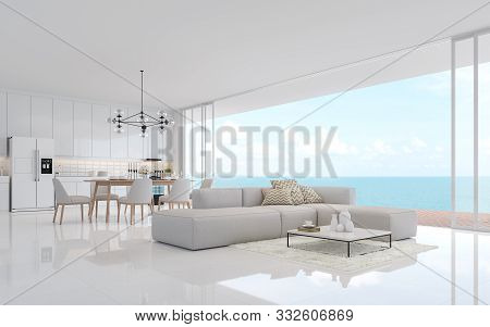 Luxury White Living Dining Room With Sea View 3d Render.there Is A Minimalistic Building Interior Wi