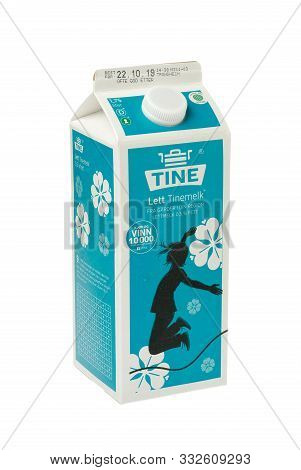 Trondheim, Norway - November 9, 2019: A Milk Package With 1.75 Liters Of Light Milk For The Norwegia