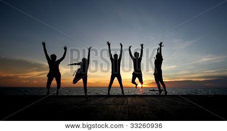 Jumping in joy