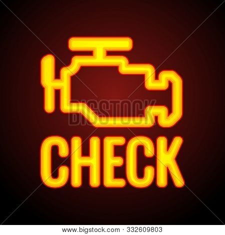 Glowing Check Engine Light Symbol That Pops Up On Car Dashboard When Something Goes Wrong With The E