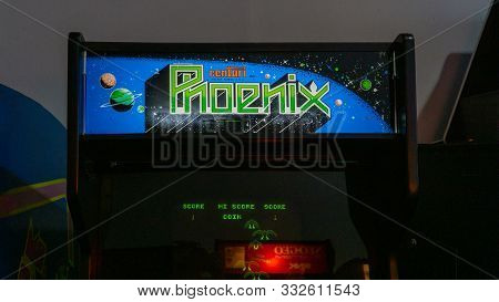 San Francisco, Usa - August 2019: Vintage Arcade Game Phoenix In Musee Mecanique - Mechanical Museum