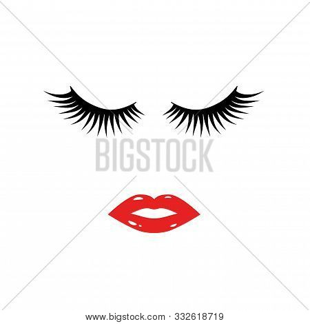 Eyelashes And Red Lipstick Kiss. Lashes And Lips Isolated On White. Easy To Edit Template For Beauty