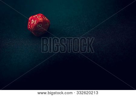 Old Damaged 20 Sided Die With 20 Face Up