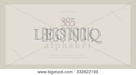 Elegant Alphabet Letters Serif Font And Number. Classic Lettering Thin Line Minimal Fashion. Typogra